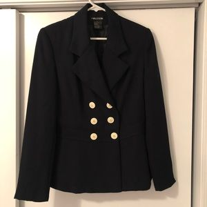 Navy double breasted Halston blazer.